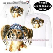 Papillon Puppy Dog Breed Bad Boy Biker Bandana Graphic Art T Shirt S-5X