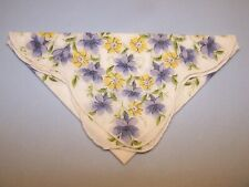 Vintage Decorative Ladies Handkerchief #130 PURPLE & YELLOW FLORAL PRINT