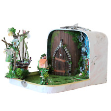 Fairy room in the suitcase. Miniature dollhouse forest diorama 1:12 scale swing