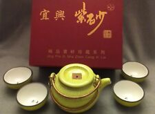 Vtg Yixing China Mini Clay Teapot/Teacups Set 5 Pieces Jing Pin Zi Sha signed