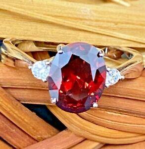 925 SILVER CREATED FLAWLESS OVAL FIRE MANDARIN GARNET ENGAGEMENT WEDDING RING 7