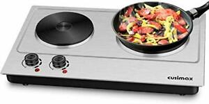 Cusimax Hot Plate Electric Double Burner Cast Iron Heating Plate Outdoor Stov...