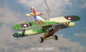 Nieuport 28 French Biplane Hand Painted Wooden Christmas Ornament Airplane USAAS