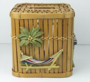 Bamboo Tissue Box Cover Palm Tree Beach Decor Tropical