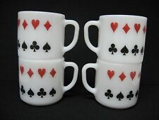SET 4 vtg FEDERAL milk GLASS mugs poker card suits DIAMOND HEART SPADE CLUB