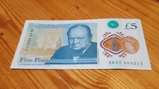 AK47 serial number £5 Polymer Winston Churchill five Pound Note. Plastic vgc