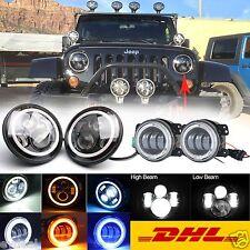 "Two Pair 7""+4"" CREE LED HALO HI/LO Beam Headlights/Fog Lights For Jeep Wrangler"