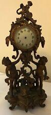 "New Haven Clock Co. DOLPHIN & CHERUB 15"" Brass Mantel Clock Vintage"