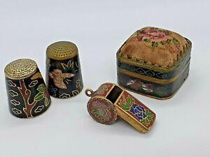 4 Vintage pieces of Cloisonné, pill box, thimbles, whistle