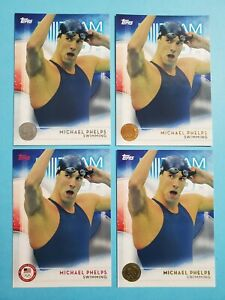 (4) card 2016 Topps Olympic Michael Phelps USA Swimming combo Gold Silver (KCR)