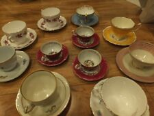antique collective cups and saucers- set of 11- multi brands