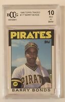 Barry Bonds Rookie Grade 10 Mint 1986 Topps Traded #11 BCCG