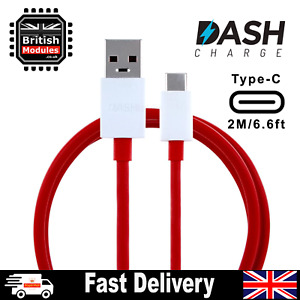 2M OnePlus Dash Cable USB Type-C Data Fast Charger Cord for 8 7 6 6T 5 5T 3 3T
