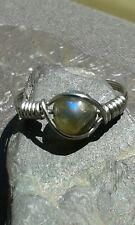 Handmade Natural Labradorite Silver Wire Wrapped Ring ANY SIZE