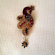 Vintage Red Orange Green Enamel Multi Color Rhinestone Peacock Pin Brooch