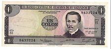 El Salvador 1 Colon Note 1967 El Salvador Un Colon 1967 Choice Uncirculated (AU)