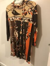 VINTAGE EMILIO PUCCI 60S ITALY SILK multi ORANGE GEOMETRIC DRESS SAKS Size Small