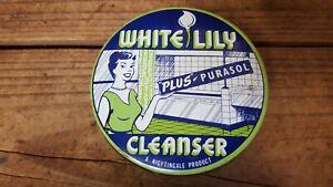 Vintage White Lily Cleanser Plus Purasol 18 Ozs Tin, Melbourne, Australia, Full