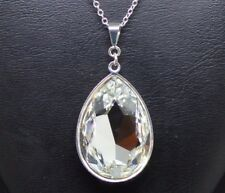 Pear-Cut Teardrop Crystal Pendant made with Swarovski in Clear & Silver