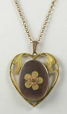 Vintage Mother of Pearl Heart Locket Pendant Necklace
