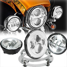 "7"" LED Daymaker Headlight + Auxiliary Lights + Mount Ring For Harley Touring"