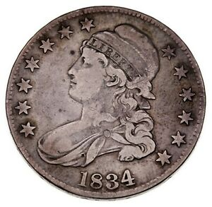 1834 50C Bust Half Dollar in Fine Condition, Nice Gray Color, Nice Detail