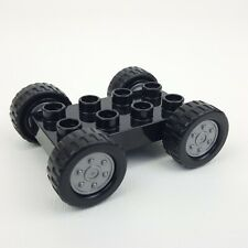 Lego Duplo 2x4 Car Base Vehicle Black Silver Hubcaps Axles Wheels Replacement