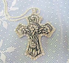 LARGE BLING CROSS PENDANT Rhinestone crytals Silver tones Jesus Christmas Gift