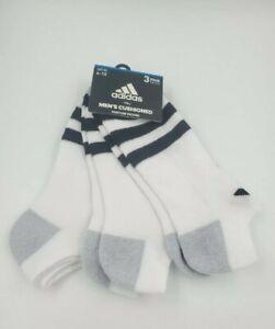 3 Pair Adidas No Show Socks, Men's Shoe 6-12, White, Ankle Athletic L16, MP