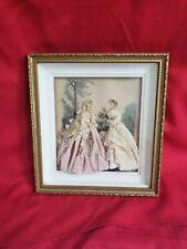ANTIQUE VICTORIAN Fashion illustrated ladies in Dress SHADOW diorama box