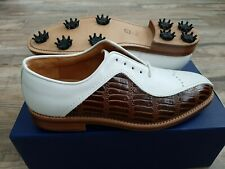 NEW FootJoy 1857 Golf Shoes Mens 9.5D WH/BRN Croc - Exclusive Classics