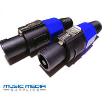 Pair of 2 Pole Speaker Plug for PA Amplifier Speaker leads Cables Audio SPK-ON