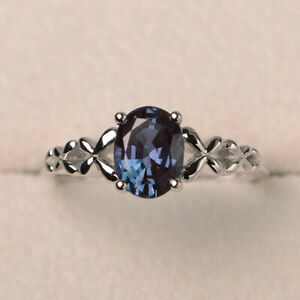 Oval Cut Blue Sapphire Pretty Women Anniversary Jewelry 925 Silver Rings Sz 6-10