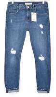Topshop BOYFRIEND SKINNY LUCAS Blue RIPPED Crop Stretch Jeans Size 10 W28 L32