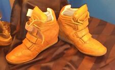 """Steve Madden Women's """"Hilight"""" Brown Leather Velcro Hi-Top Sneakers Shoes sz 10M"""