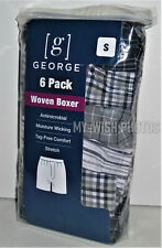 New! George Men's Woven Tag-Free Comfort Boxers Shorts 6-Pack (Small 28-30 In)