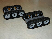 LEGO 4 X Black Rubber Caterpillar treads + 12 Drive Wheels Small Spéléon Réservoir EXC