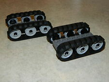 LEGO 4 x Black Rubber Caterpillar Treads + 12 Drive Wheels SMALL digger tank