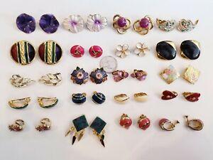 Vintage Mod Gold Tone Enamel Clip Earrings LOT Cloissonne Trifari Monet Coro+