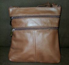 "Cowhide Leather Shoulder Bag Handbag Zip Pockets 48"" 8""x8"" 7"" Small Light Brown"