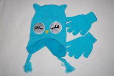 Girls Turquoise Owl Hat Fleece Lined Glitter Eyes Ear Flaps Stretch Gloves