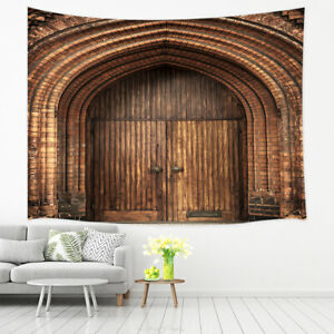 Ancient castle gate rustic door Tapestry Wall Hanging Blanket Wall Decor