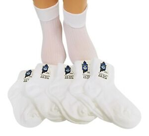 Girls Socks 100% Nylon 6 pairs Turn over top White. *BUY BRITISH *