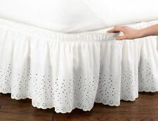 White Eyelet Bedskirt Ruffle Twin/Full Nostalgic Elastic Bed skirt Bedding