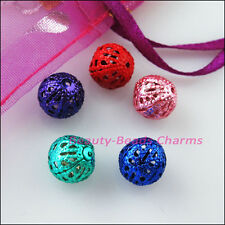 40 New Charms Random Mixed Round Filigree Hollow Spacer Beads 8mm