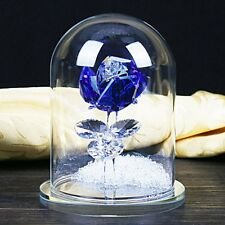 Crystal Enchanted Rose Flower Figurine In Glass Dome St Valentines Day Love Gift