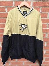 Pittsburg Penguins NHL Pullover Jacket Medium Men's Embroidered Black & Gold