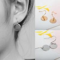 Gold/Silver Disk Round Minimalist Circle Earrings Monogram Blank Womens Jewelry