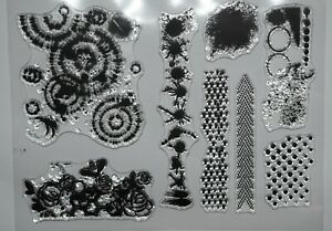 Background Clear Stamps – 8 Different Stamps - Dots, Splat, Chevron, Bee, Circle
