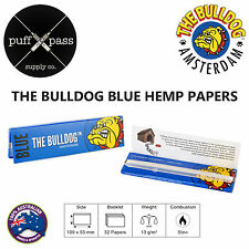 THE BULLDOG BLUE - KINGSIZE HEMP ROLLING PAPERS [109mm x 53mm] 32 PAPERS